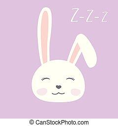 Cute cartoon face of a sleeping bunny