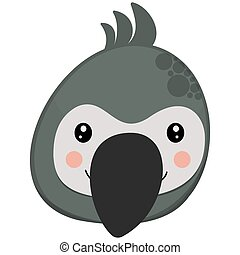 Cute cartoon face of character gray parrot with the crest from above on a white background. African head of bird for children's graphic design for logo, icon, symbol. Vector.