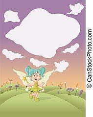 Cute cartoon fairy girl