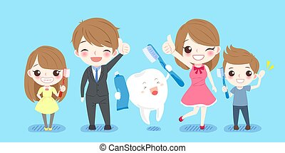 cute cartoon family with tooth