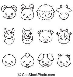 Cute cartoon farm animal line icon set, face of rat, rabbit, sheep, goat, donkey, horse, pig, cow, duck, hen, pig, cat