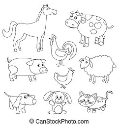 Cute cartoon farm animals and birds for coloring book. Outline vector with adjustable stroke. Black and white version