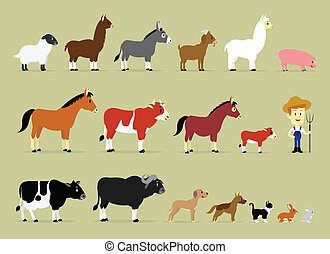 Cute Cartoon Farm Characters including a farmer and 17...