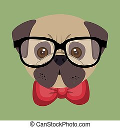 cute cartoon fashionable puppy bulldog