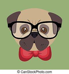 cute cartoon fashionable puppy bulldog