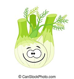 Cute cartoon fennel character vector illustration isolated on w
