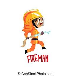 Cute cartoon fireman character using water hose vector Illustration