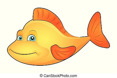 Cute cartoon fish isolated on a white background. Vector illustration.