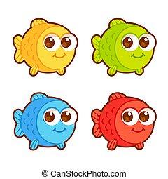 Cute cartoon fish set