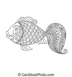 Cute cartoon fish with ornament. Background, cover. Design for coloring page