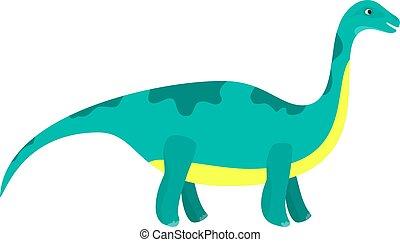 Cute cartoon flat blue diplodocus character