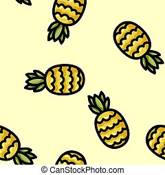 Cute cartoon flat style pineapple seamless pattern