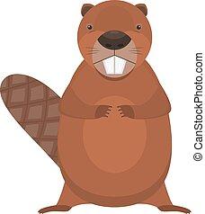 Cute cartoon flat vector standing beaver character