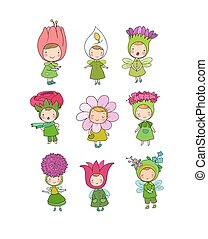 Cute cartoon flower fairies. Forest gnomes. Fairytale creatures. Funny kids