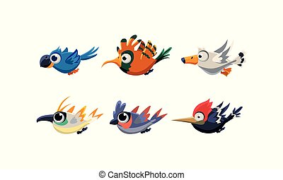 Cute cartoon flying birds set, funny colorful birds vector Illustration on a white background