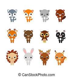 Cute cartoon forest animals illustration for children. Flat vector stock illustration