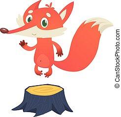 Cute cartoon fox character standing on the stump