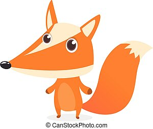 Cute cartoon fox character. Vector illustration.