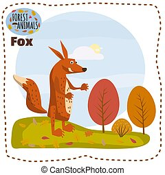 Cute cartoon fox on background landscape forest illustration, vector, isolated