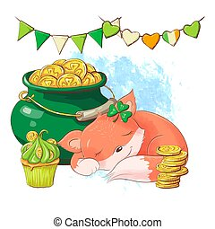 Cute cartoon fox sleeping near a pot of coins, a card for St. Patrick's Day. Vector illustration