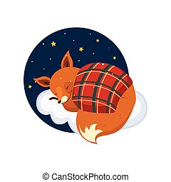 Cute Cartoon Fox Sleeping on a Cloud, Covered with Blanket. Vector Illustration