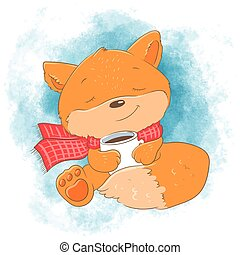 Cute cartoon fox with a cup. Vector illustration
