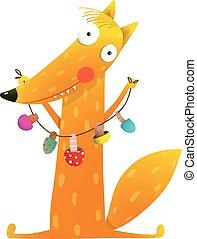 Cute cartoon fox with dried mushrooms on string - Cute red...