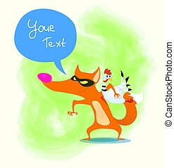 Cute cartoon fox with stolen chicken. Vector. design