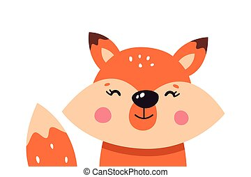 Cute cartoon foxes on a white isolated background. Vector illustration.