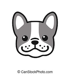 French Bulldog face - Cute cartoon French Bulldog face...