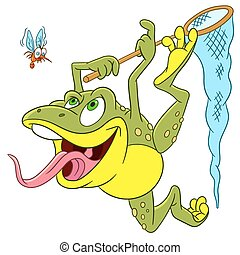 cute happy and hungry cartoon frog is trying to catch a scared mosquito with the help of insect-net, isolated on a white background