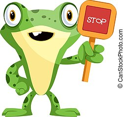 Cute cartoon frog with a stop sign, illustration, vector on white background.