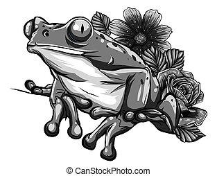 Cute cartoon Frog with flowers vector illustration