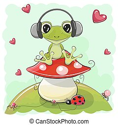 Cute cartoon Frog with headphones