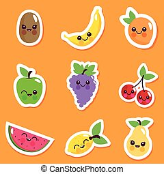 Cute cartoon fruit character collection. Vector illustration