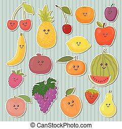 Cute cartoon fruits, healthy food