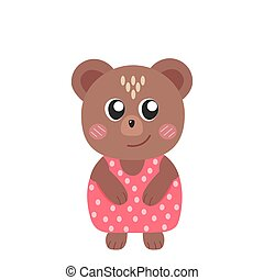 Cute cartoon funny bear, stock vector illustration isolated on white background