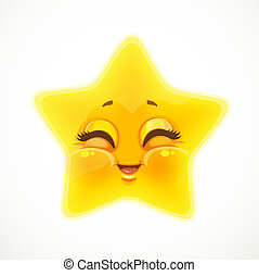 Cute cartoon funny smiling star isolated on a white background