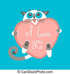 Cute cartoon ginger cat with heart and declaration of love....