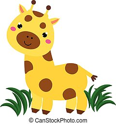 Cute cartoon giraffe. Animal character for babies and children design, prints