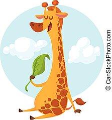 Cute cartoon giraffe eating leaf. Vector  illustration