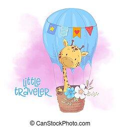Cute cartoon giraffe in a balloon with flowers. Vector illustration