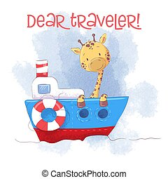 Cute cartoon giraffe on a ship steamer. Vector illustration