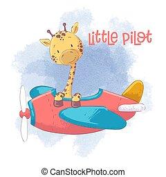 Cute cartoon giraffe on an airplane. Vector illustration