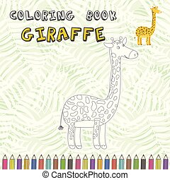 Cute cartoon giraffe silhouette for coloring book