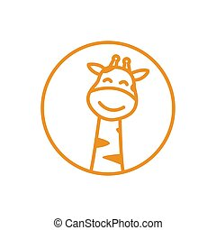 cute cartoon giraffe smile line head logo icon vector
