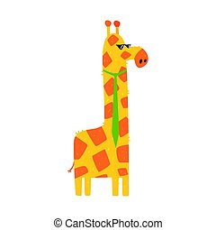 Cute cartoon giraffe with green tie. African animal colorful character vector Illustration
