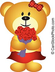 Cute Cartoon GIrl Bear Bouquet