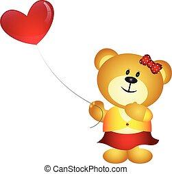 Cute Cartoon Girl Bear Holding Love