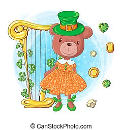 Cute cartoon girl bear in a leprechaun hat with harp and precious stones, card for St. Patrick's Day. Vector illustration